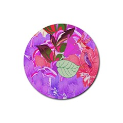 Abstract Flowers Digital Art Rubber Coaster (Round)