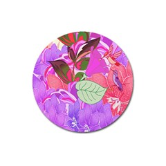 Abstract Flowers Digital Art Magnet 3  (Round)