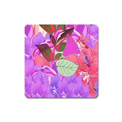 Abstract Flowers Digital Art Square Magnet