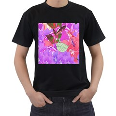 Abstract Flowers Digital Art Men s T-Shirt (Black) (Two Sided)