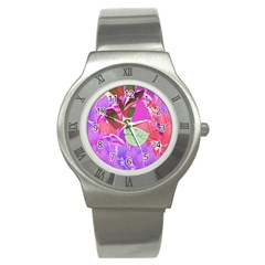 Abstract Flowers Digital Art Stainless Steel Watch