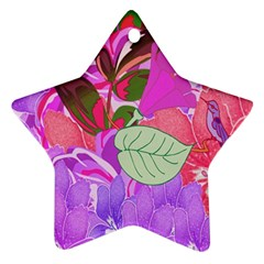 Abstract Flowers Digital Art Star Ornament (Two Sides)