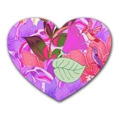 Abstract Flowers Digital Art Heart Mousepads