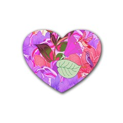 Abstract Flowers Digital Art Rubber Coaster (Heart)