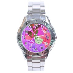 Abstract Flowers Digital Art Stainless Steel Analogue Watch