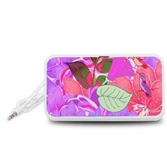 Abstract Flowers Digital Art Portable Speaker (White)