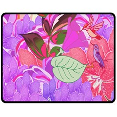 Abstract Flowers Digital Art Double Sided Fleece Blanket (Medium)