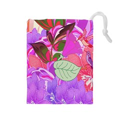 Abstract Flowers Digital Art Drawstring Pouches (Large)
