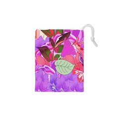 Abstract Flowers Digital Art Drawstring Pouches (XS)