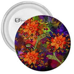 Abstract Flowers Floral Decorative 3  Buttons