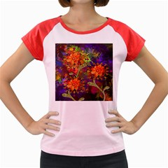 Abstract Flowers Floral Decorative Women s Cap Sleeve T-Shirt