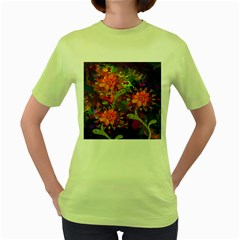 Abstract Flowers Floral Decorative Women s Green T-Shirt