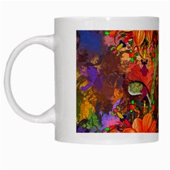 Abstract Flowers Floral Decorative White Mugs