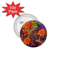 Abstract Flowers Floral Decorative 1.75  Buttons (100 pack)
