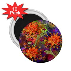 Abstract Flowers Floral Decorative 2.25  Magnets (10 pack)