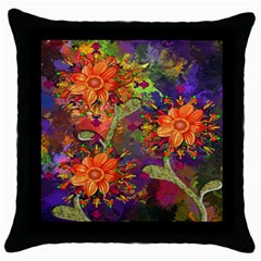 Abstract Flowers Floral Decorative Throw Pillow Case (black)