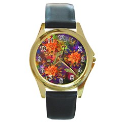 Abstract Flowers Floral Decorative Round Gold Metal Watch