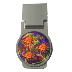Abstract Flowers Floral Decorative Money Clips (Round)