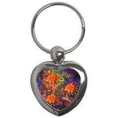 Abstract Flowers Floral Decorative Key Chains (Heart)