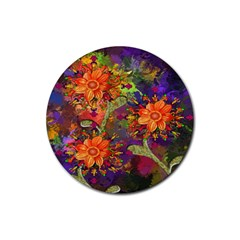 Abstract Flowers Floral Decorative Rubber Round Coaster (4 pack)