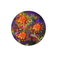 Abstract Flowers Floral Decorative Magnet 3  (Round)