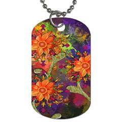 Abstract Flowers Floral Decorative Dog Tag (Two Sides)