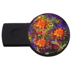 Abstract Flowers Floral Decorative USB Flash Drive Round (2 GB)