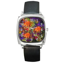 Abstract Flowers Floral Decorative Square Metal Watch