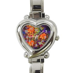 Abstract Flowers Floral Decorative Heart Italian Charm Watch