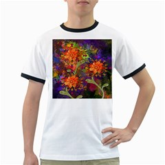 Abstract Flowers Floral Decorative Ringer T-Shirts