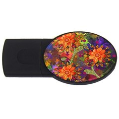 Abstract Flowers Floral Decorative USB Flash Drive Oval (4 GB)