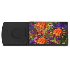 Abstract Flowers Floral Decorative USB Flash Drive Rectangular (4 GB)