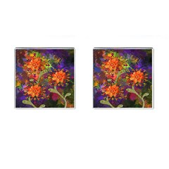 Abstract Flowers Floral Decorative Cufflinks (square)