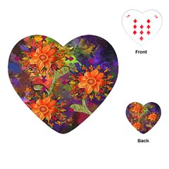 Abstract Flowers Floral Decorative Playing Cards (Heart)