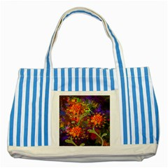 Abstract Flowers Floral Decorative Striped Blue Tote Bag