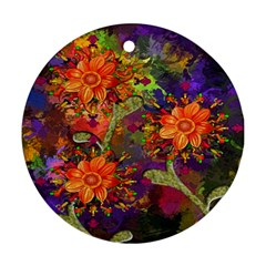 Abstract Flowers Floral Decorative Round Ornament (Two Sides)