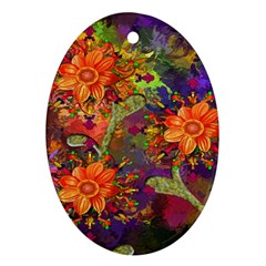 Abstract Flowers Floral Decorative Oval Ornament (two Sides)