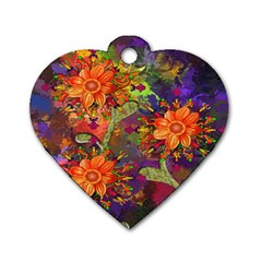Abstract Flowers Floral Decorative Dog Tag Heart (Two Sides)