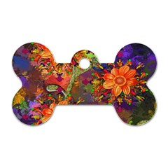 Abstract Flowers Floral Decorative Dog Tag Bone (two Sides)