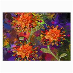 Abstract Flowers Floral Decorative Large Glasses Cloth (2-Side)