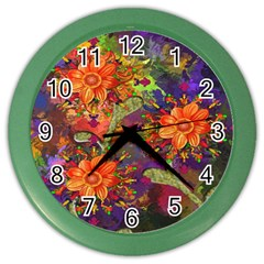Abstract Flowers Floral Decorative Color Wall Clocks