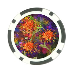 Abstract Flowers Floral Decorative Poker Chip Card Guard