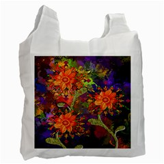 Abstract Flowers Floral Decorative Recycle Bag (Two Side)