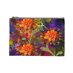 Abstract Flowers Floral Decorative Cosmetic Bag (Large)