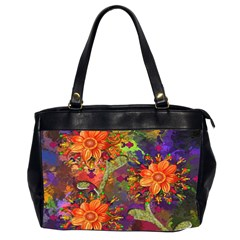 Abstract Flowers Floral Decorative Office Handbags (2 Sides)