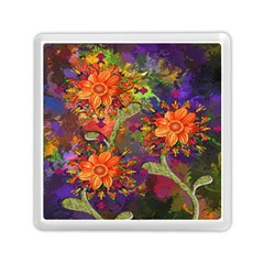 Abstract Flowers Floral Decorative Memory Card Reader (Square)