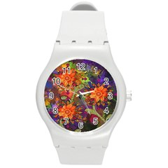 Abstract Flowers Floral Decorative Round Plastic Sport Watch (m)