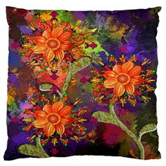 Abstract Flowers Floral Decorative Large Cushion Case (One Side)