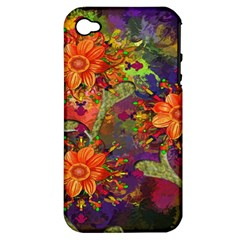 Abstract Flowers Floral Decorative Apple Iphone 4/4s Hardshell Case (pc+silicone)