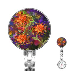 Abstract Flowers Floral Decorative Stainless Steel Nurses Watch